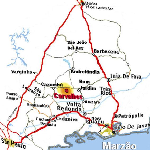 mapa carvalhos Geografia de Carvalhos MG   Ache Tudo e Região mapa carvalhos